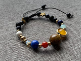 Space and star glass bead adjustable bracelet