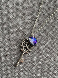 Silver chain necklace silver key charm and purple blue heart