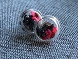 Glass earrings with small black crystals and red flowers