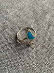 Blue stone and silver metal alloy ring