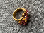 Metal alloy ring gold and pink stone