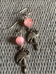 Silver flamingo and resin ball charm earrings