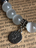 Silver tree of life charm bracelet with white glass ball