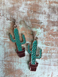 Turquoise cactus silver charm earrings