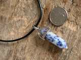 Blue and white stone charm necklace on black leather cord