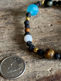Lava stone and space beads bracelet