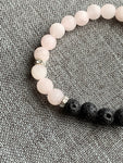 Lava stone and pink beads bracelet diffuser jewelry
