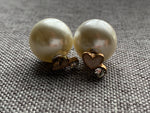 Double ball pearl and heart style earrings