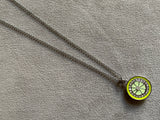 Lime charm necklace silver chain