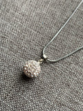 Small cubic zirconia white ball charm necklace