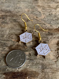 Gold spider web charm earrings