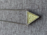 Silver and green triangle charm necklace