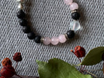 Elastic bracelet black lava stone beads and pink glass beads aromatherapy diffuser jewelry
