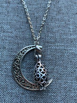 Silver Moon Charm Necklace Aromatherapy Diffuser Jewelry Essential Oil