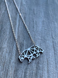 Polar bear charm necklace in origami stainless steel jewelry