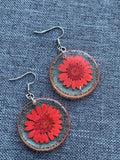 Resin charm earrings with coral red flower silver hook