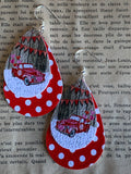 Retro car leather charm earrings on a red and white background