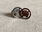 Stainless steel cabochon earrings silver tree of life