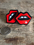 Red lips mouth charm earrings