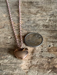 Small rose gold heart necklace