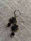 Chic black and bronze flower charm earrings