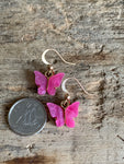 Fushia pink and gold butterfly charm earrings