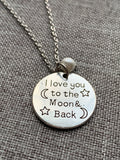 Collier breloque pendentif love you to the moon and back en alliage de métaux argent et petite perle blanche