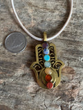 Hand of protection charm necklace Fatima fatma gold and chackra on leather cord
