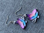 Boucles d'oreilles papillon bleu et mauve purple and blue butterfly