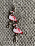Pink flamingo charm earrings white and pink metal alloy silver