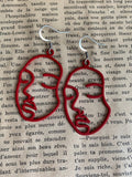 Red face charm earrings and stainless silver hook