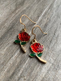 Red rose charm earrings and gold metal alloy
