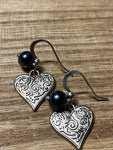 Silver heart charm earrings and pearl ball