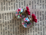 Double ball charm flower and star confetti earrings