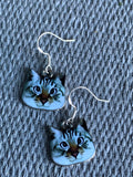 White cat charm earrings and silver hook