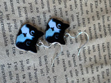 Black and white cat charm earrings and silver hook