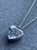 Heart charm necklace with flowers of roses commemorative jewelry