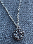 Gray druzy stone charm necklace on silver metal alloy chain