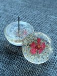 Resin cabochon and pink flower earrings