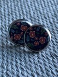 Cabochon earrings with pink flowers on a navy blue background silver metal alloy