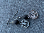 Silver Tree of Life Charm Earrings and Black Lava Stone Beads Aromatherapy Diffuser Jewelry