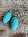 Turquoise resin and silver metal alloy charm earrings