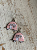 Trailer Tent Trailer Tent Charm Earrings Silver Metal Alloy Camping