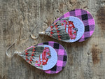 Retro car pink leather charm earrings on silver hook