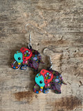 Colorful elephant mandala charm earrings