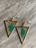 Turquoise feather gold metal alloy earrings
