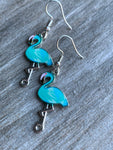 Turquoise and silver flamingo charm earrings
