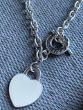 White padlock heart charm chain necklace