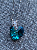 Turquoise Swarovski Heart Charm Necklace Silver Metal Alloy Chain