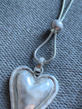 Silver metal alloy heart charm necklace